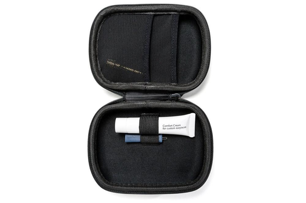IEM case open with comfort cream & wax pick